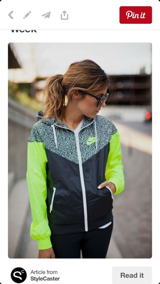 sweater nike neon grey stripes zip up
