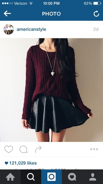 skirt skater skirt sweater red black red sweater cropped sweater leather faux leather flare skirt black skirt red sweater crop maroon cropped sweater crop