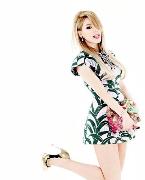 cute dress cl lee chaerin above knee dress white dress green dress grass dress kfashion ulzzangfashion