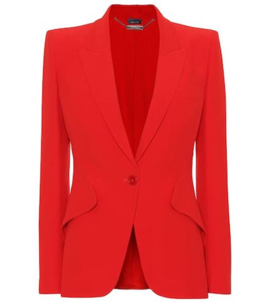 Alexander McQueen Single-breasted crêpe blazer in red