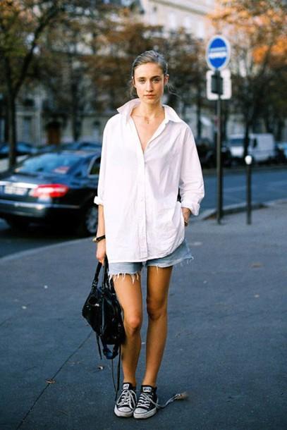 lefashion blogger bag button up long sleeves denim shorts black bag converse