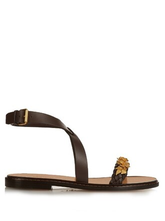 embellished garden party sandals dark brown shoes