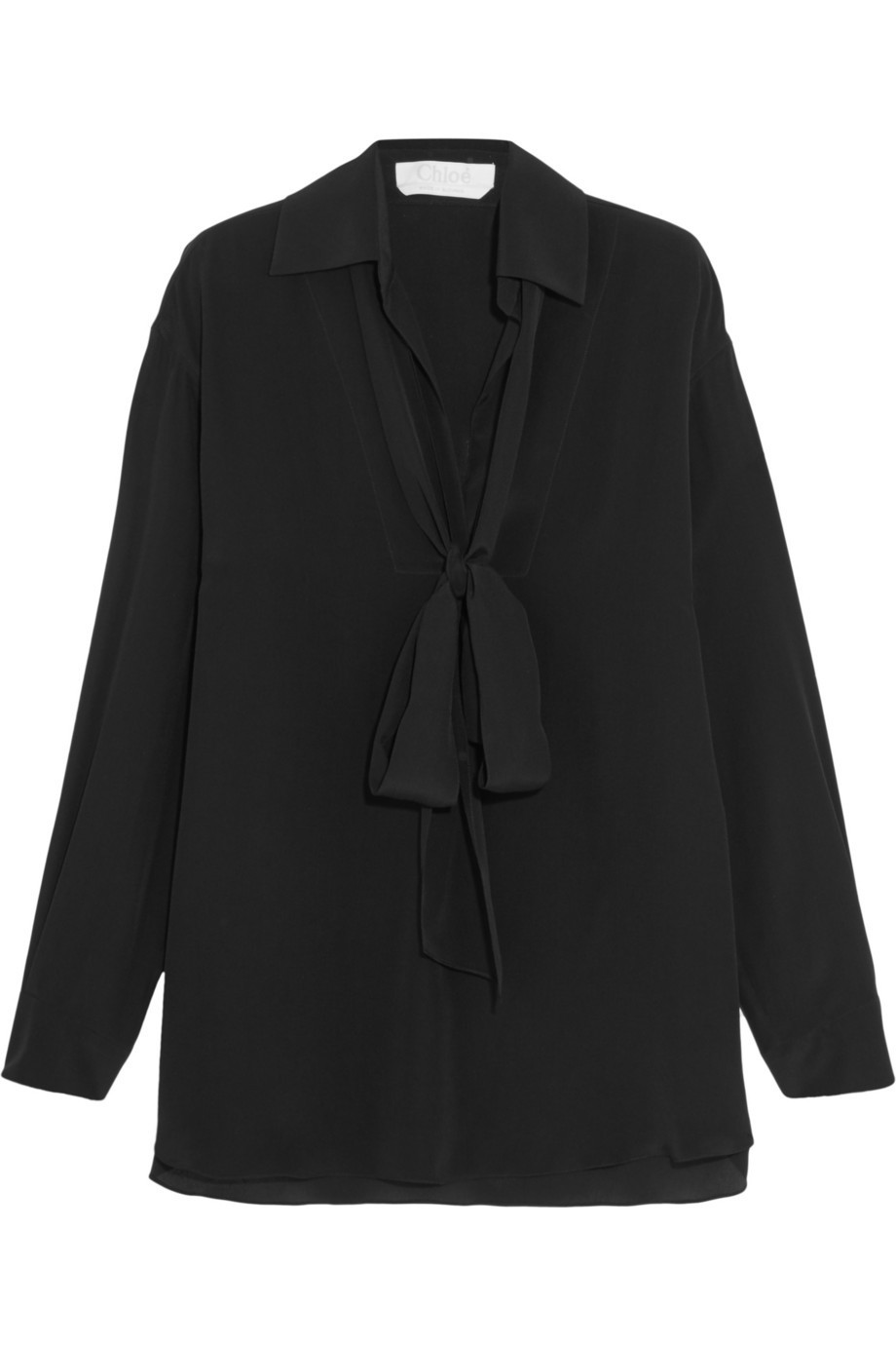 Chloé Chloé Pussy-Bow Silk-Cady Blouse in black