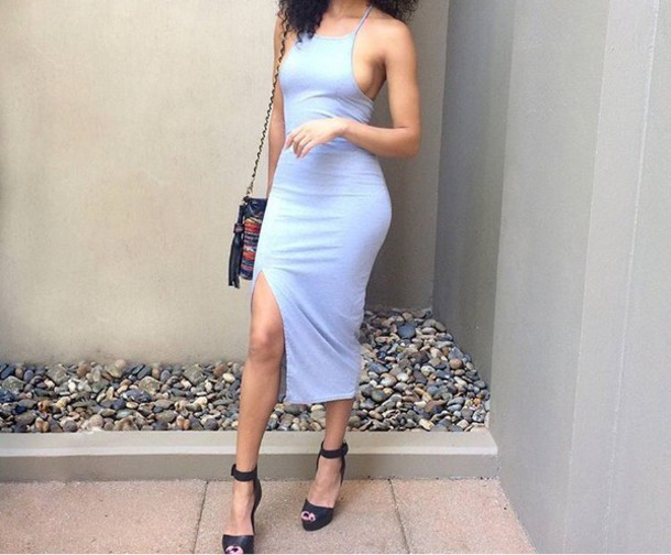 grey dress slit dress midi dress halter neck sleeveless 90s style bodycon dress bodycon summer summer dress summer outfits spring