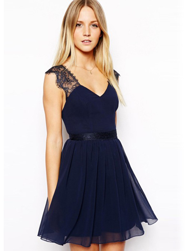 lace dress midi dress dark blue dress