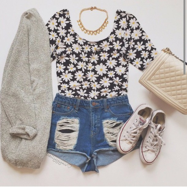 blouse floral shirt cardigan shorts shirt
