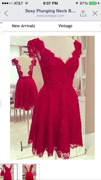 dress red dress lace dress backless dress