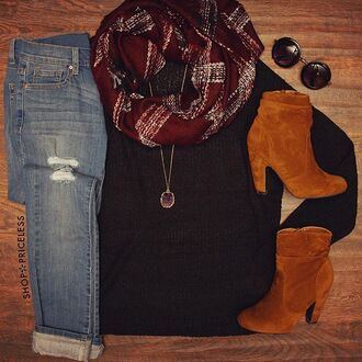 scarf booties tan jeans plad glasses cute warm long sleeves sweater ripped jeans denim shoppriceless round sunglasses winter outfits necklace long necklace edgy comfy