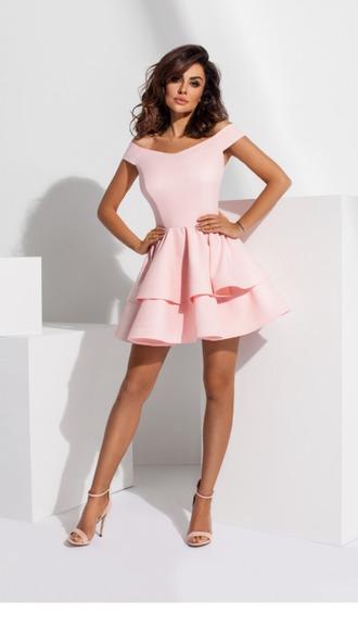 dress mini dress pink dress short dress powder pink