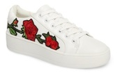 shoes,rose,white,rose embroidered,sneakers,white sneakers,pretty,beautiful,slayy