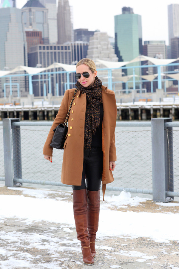 brooklyn blonde coat scarf pants sweater shoes