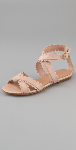 See by chloe scallop ankle wrap flat sandals