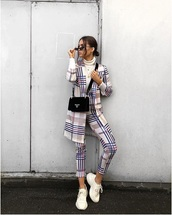 coat,plaid coat,pants,plaid pants,turtleneck,white turtleneck top,sneakers,white sneakers,sunglasses,matching set,sweater
