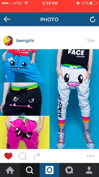 pants blue pink white monster