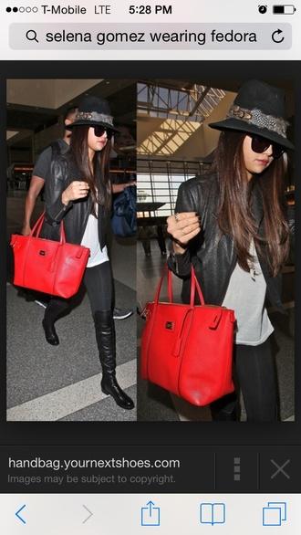 hat selena gomez pants blackboots jacket black leather jacket white top sunglasses