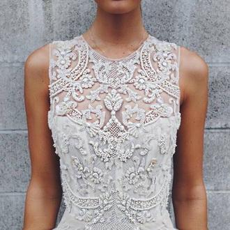 dress white wedding dress beautiful outfit luxury blouse aesthetic tumblr pearl shirt ??? white blouse long dress silver dress white dress beaded beaded dress
