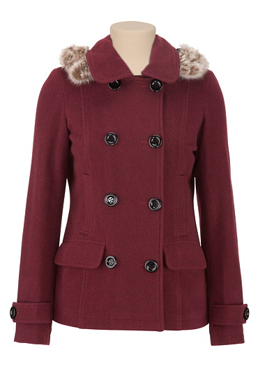 Wine Double Breasted Pea Coat with Faux Fur - maurices.com