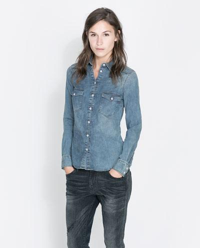 Basic denim shirt stock clearance woman sale zara for Zara mens shirts sale