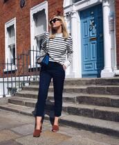 shoes,mid heel sandals,pants,cropped pants,striped sweater,shoulder bag,sunglasses