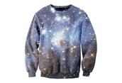 sweater,galaxy print,sweatshirt,crewneck,crewneck sweater,pretty,blouse,clothes,cute,galaxy sweater,comfy