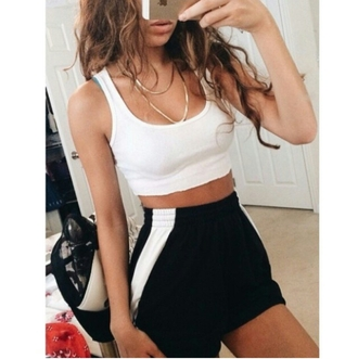 shorts high waisted shorts white crop top athleticwear sportswear chains black & white black and white dope cool chill rad causal tumblr outfit tumblr girl on point clothing popular trending now trending trendy trend style styled accessories