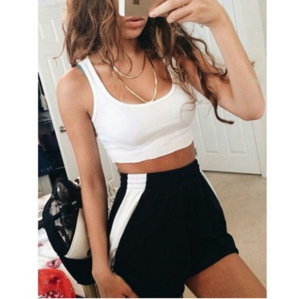 shorts High waisted shorts white crop tops sportswear sportswear chain black and white black and white dope cool chill rad casual tumblr outfit tumblr girl on point clothing trendy trendy trendy trendy style style accessories