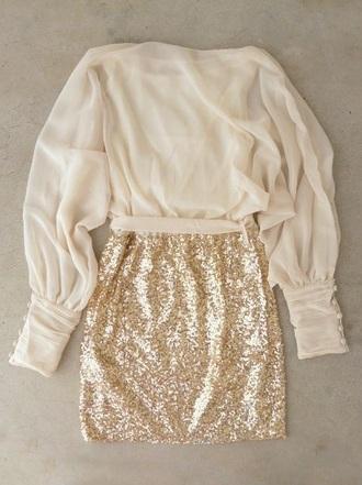 skirt cream sparkle mini skirt long sleeves two-piece