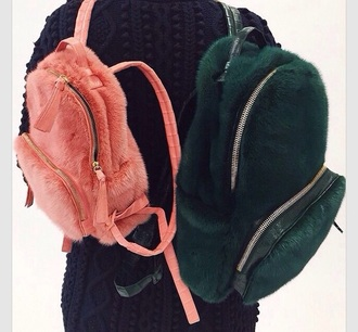 bag pink green fluffy backbag bookbag