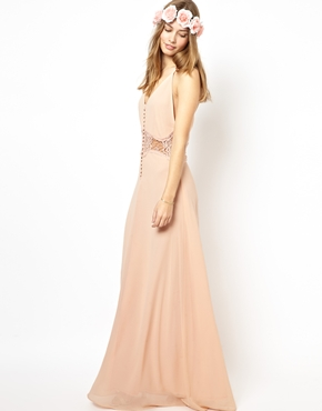 Jarlo cami strap maxi dress with lace insert at asos