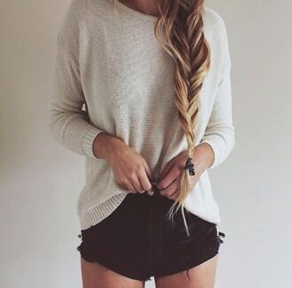shorts comfy sweater white cream black high waisted cute tumblr fish tail braid