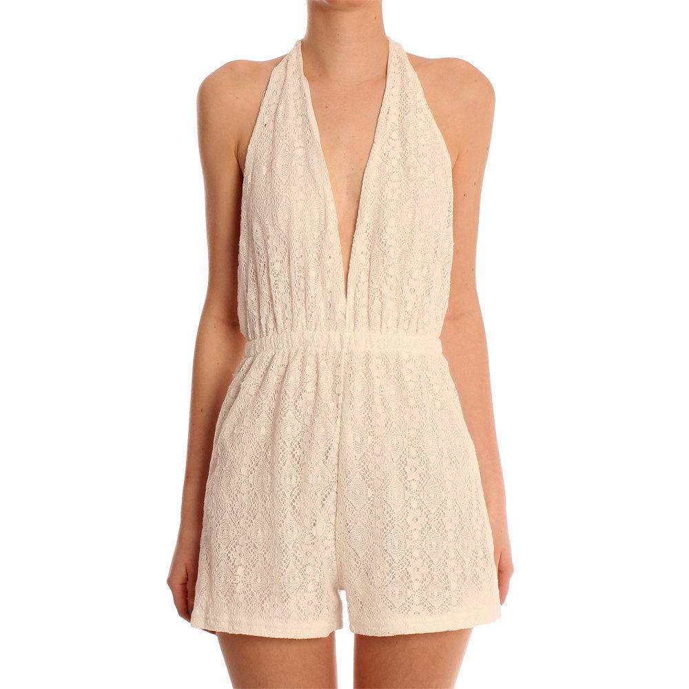 2acb5a84df Reverse White Lois Halterneck Lace Playsuit