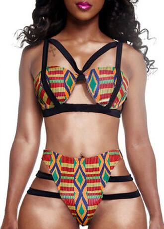 swimwear african american kente cloth kente ghana print african print dress bikini top bra aztec geometric