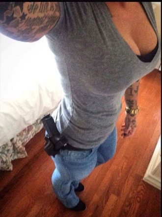 shirt grey scoop neck sexy boobs denim tights tattoo gun low rise denim shorts denim jacket gold watch