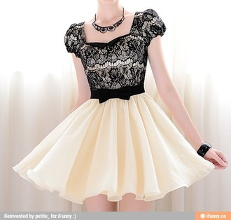 dress homecoming dress black and white lace floaty dress bow black bow delicate organza princess dress