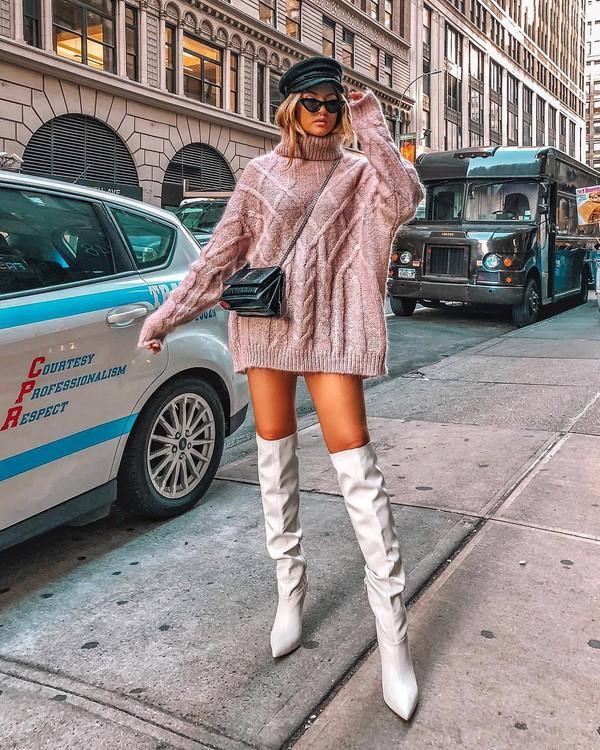 sweater turtleneck sweater knitted sweater sweater dress knee high boots white boots crossbody bag mini bag sunglasses fisherman cap dress mini dress tunic dress knitted dress turtleneck dress boots cap