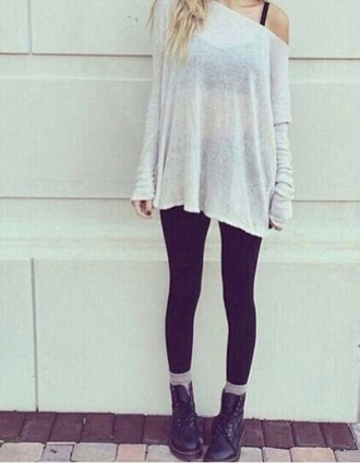 blouse white sweater oversized cute lovely cool outfit black leggings beautiful teenager girl look boots brown