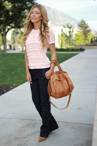 birdalamode blogger shoes bag pink top light pink brown bag black pants heels knitted top flare jeans spring outfits