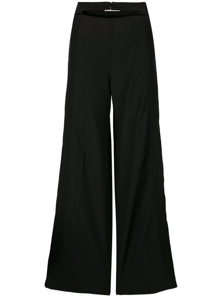 Valentino pleated women spandex black wool pants