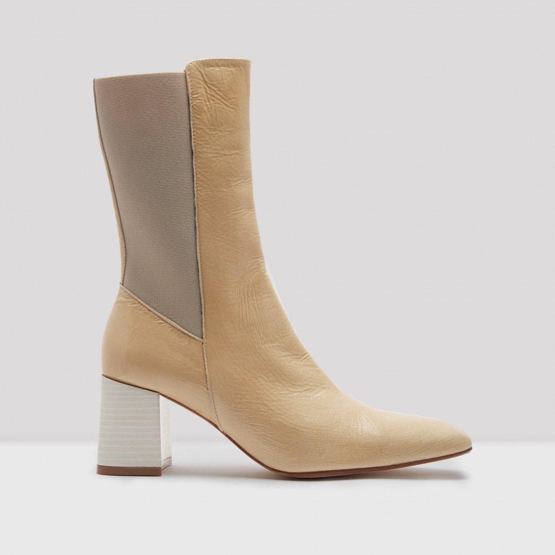 Judita Beige Crinkle Leather Slip-On Boots