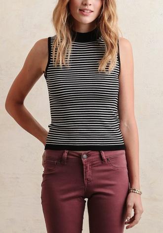 shirt t-shirt stripes mock turtleneck tank top classy audrey hepburn