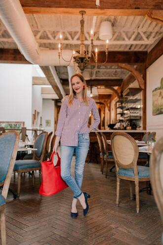 kelly in the city - a preppy chicago life style and fashion blog blogger shirt jeans bag jewels shoes red bag mid heel pumps striped shirt spring outfits