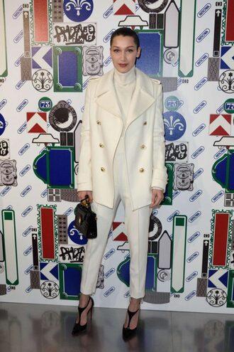 pants turtleneck coat bella hadid pumps model fashion week 2017 paris fashion week 2017