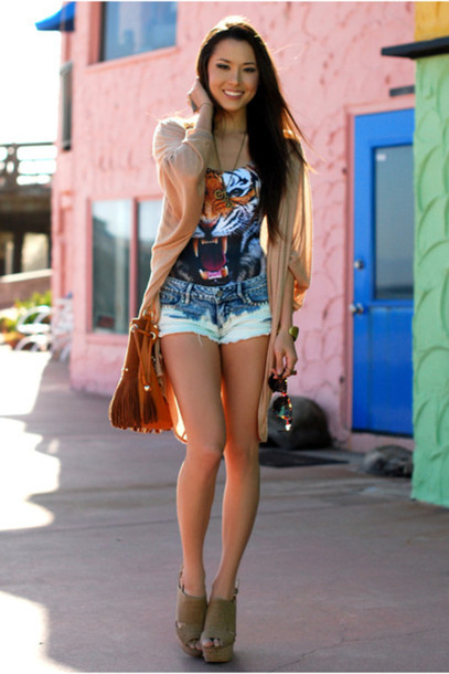 T Shirt Tiger Summer Boots Jeans Shorts Top Wild