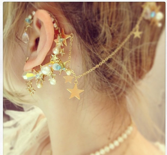 earrings jewels gold ear cuff stars chain kawaii