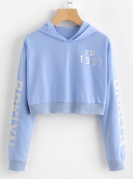 Sweater Hoodie Girly Blue Light Blue Sweatshirt Crop Cropped