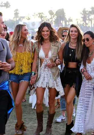 knitwear lace dress alessandra ambrosio festival coachella white lace bralette crop tops yellow top denim shorts black shorts