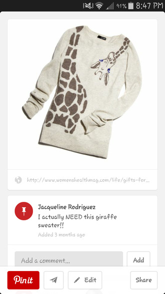 gray sweater giraffe sweater size small giraffe top stripy stripey stripes black and white knitted wooly