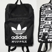 bag,adidas,black,black and white,typography,typo,backpack,grunge