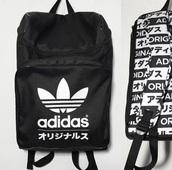 bag,adidas,black,black and white,typography,typo,backpack,grunge