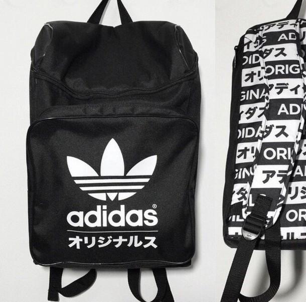 bag adidas black black and white typography typo backpack grunge